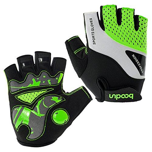 BOODUN Radfahren Handschuhe für Männer Frauen Half Finger Fahrradhandschuhe Atmungsaktive Anti-Rutsch-Handschuhe - Grün - M