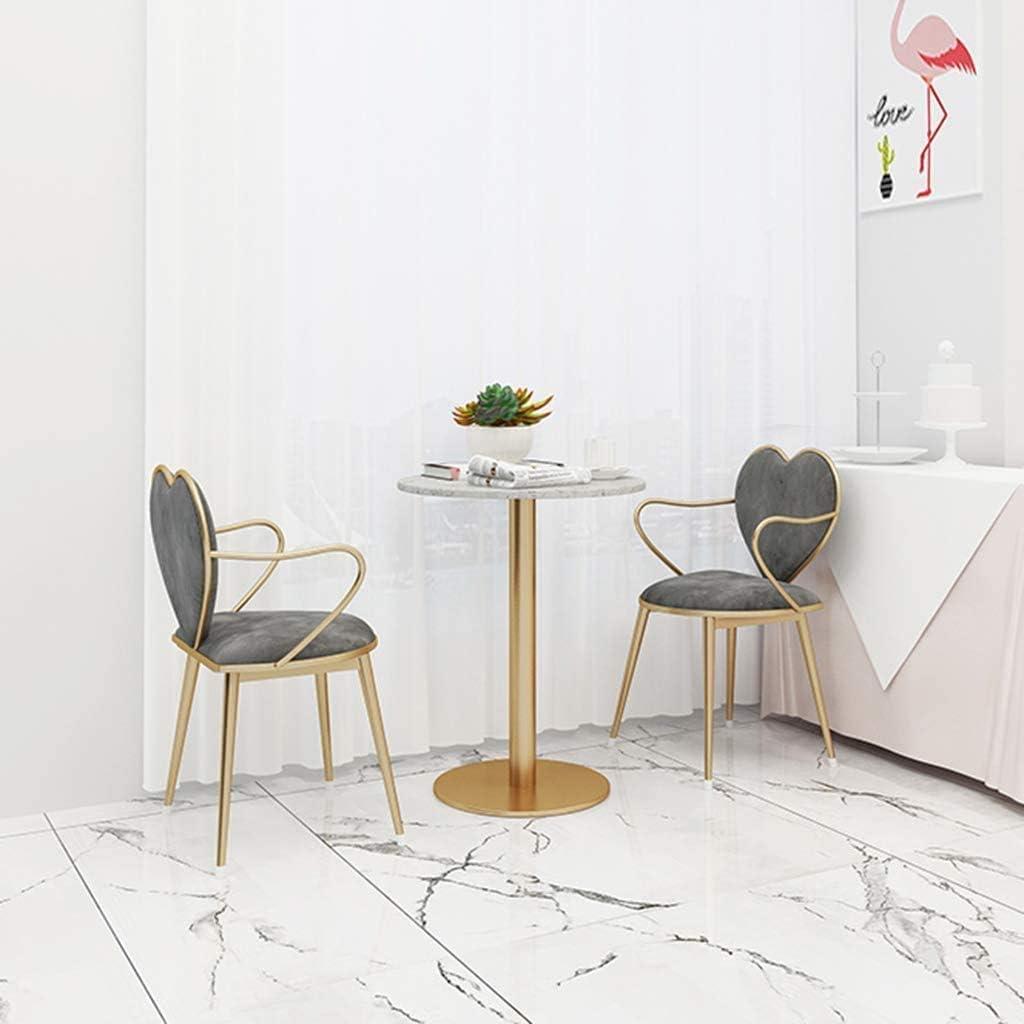 Chaise de Salle Nordique Fer forgé, Café Or Casual Coiffeuse Chaise Simple Velours Lait Tea Shop Fer Forgé Loisirs Chaise,Gray Gray