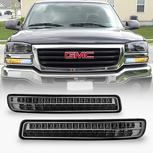 ACANII - For 1999-2006 GMC Sierra 1500 2500 3500 Yukon Smoked LED Bumper Lights Signal Lamps Assembly Pair Left+Right