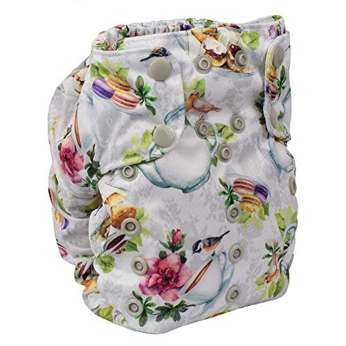 Cloth Diaper – Smart Bottoms Smart One 3.1 – All-in-One – 100% Organic Cotton Interior – 10-35lbs … (Tea Party)