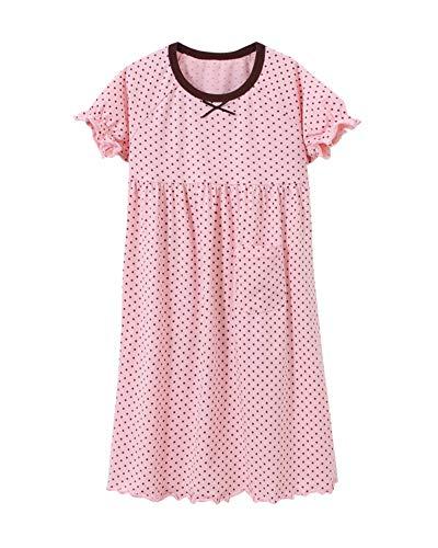 Prinzessin Nachthemden Für Mädchen Rundkragen Kurzarm Kinder Schlafanzüge Für 3-12 Jahre Pink 130