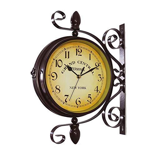 yanzz Reloj de Pared Giratorio de Doble Cara Retro Relojes clásicos Europeos con Soporte Reloj Colgante de Metal Decoración de jardín Interior para el hogar (sin batería)