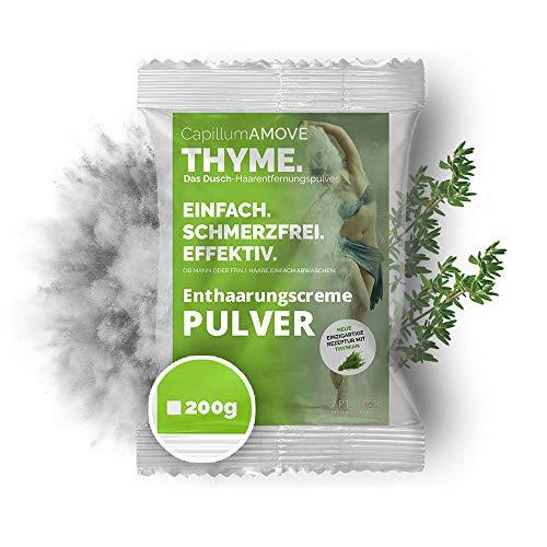 Capillum AMOVE Thyme 200g - Schmerzfreie Dusch Haarentfernung mit natürlichen Kräutern für empfindliche Haut (Körper & Intimbereich)