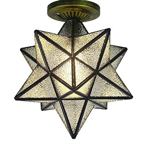 CZYNB DIRIGIÓ Lámpara de Techo Metal Estilo Retro Moravia Estrella de Techo Lámpara de latón Estilo Bohemio Lámpara marroquí con Sombra de Vidrio de semilla