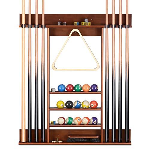 XCSOURCE Pool Cue Rack,8 Pool Billiard Stick + Ball Set Wall Rack Holder,Pool Stick Holder Made of Fine Wood,Billiard Cue Rack Suitable for Family Billiard Room or Billiard Club