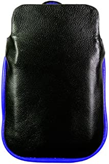 Kroo BARE Premium Leather Case Designed for Apple iPhone 3G/3GS - Black/Blue - Free Black iPhone USB Charger