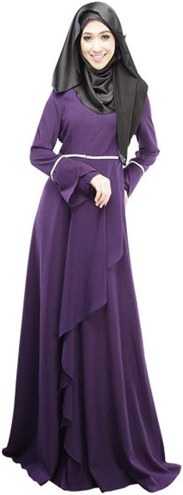 DAZISEN Womens Muslim Dress - Slim Long Dress for Muslim Ladies