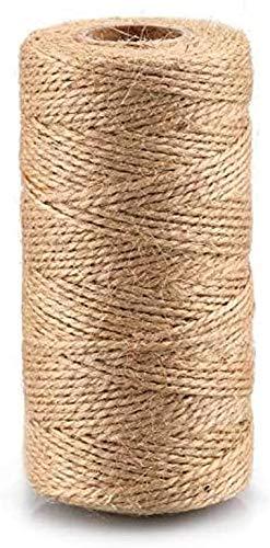 jijAcraft Cuerda de Yute Cordel Manualidades 100M para Bricolaje, Embalaje, Decoración, Aplicaciones de Jardinería
