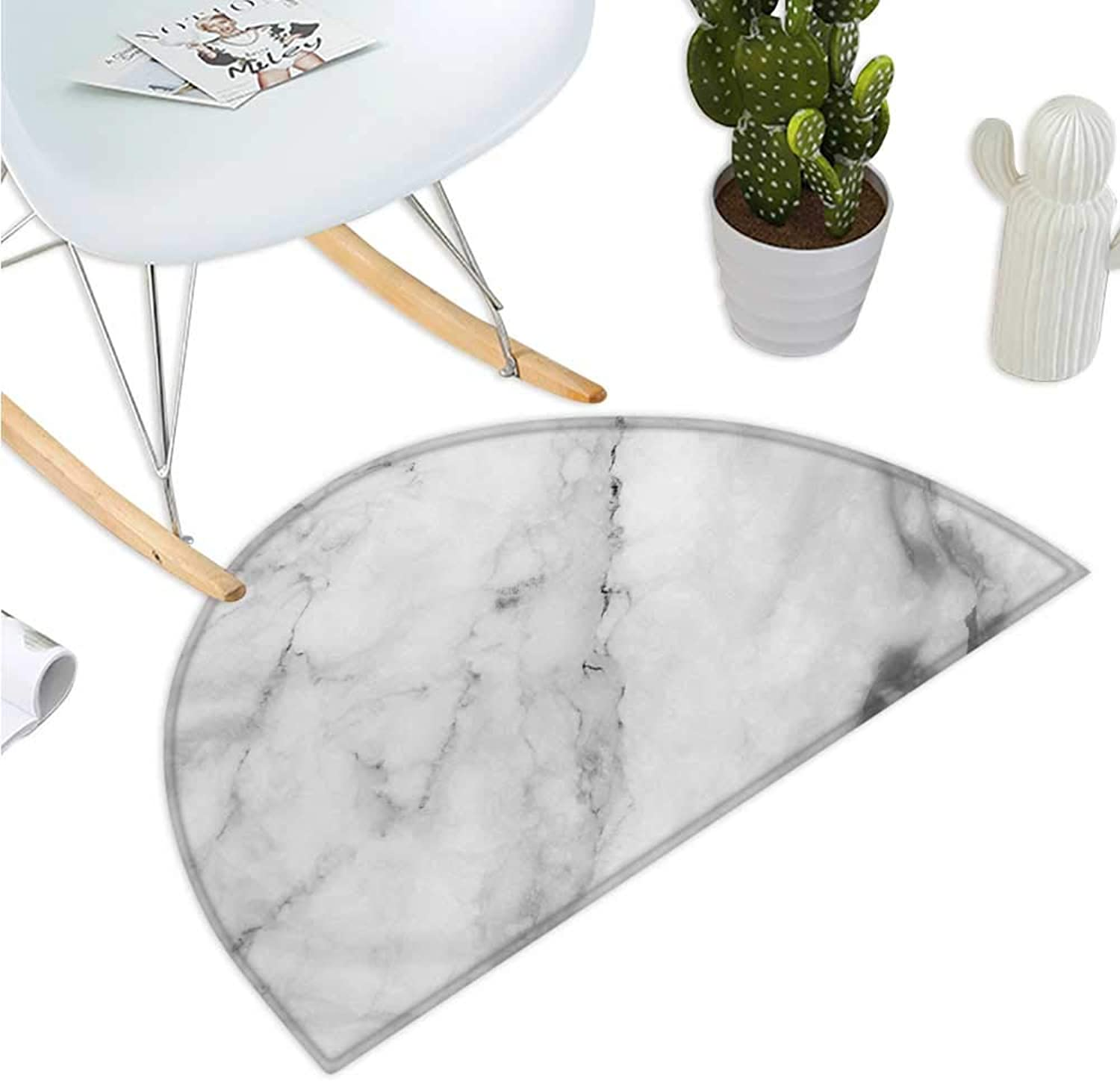 Marble Semicircular Cushion Granite Surface Motif with Sketch Nature Effect and Cracks Antique Style Image Entry Door Mat H 47.2  xD 70.8  Grey Dust White