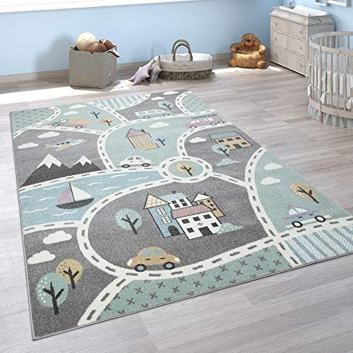 Paco Home Kinder-Teppich, Spiel-Teppich Für Kinderzimmer, Mit Straßen-Motiv, In Grün Grau, Grösse:160x220 cm