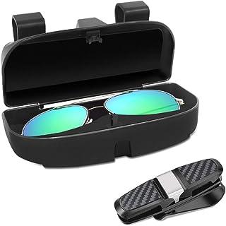 Senhai Brillen Organizer und Brillenhalter, Clip für Auto Sonnenblende, Sonnenbrillenetui mit Kreditkartenclip, passend für alle Fahrzeugmodelle