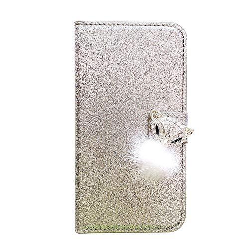 WANYINGLIN Bling Book Purse Hülle für Samsung S21,Girl Fox Diamond Sparkle Glitter Leather Leder Flip Kickstand Magnet Wallet with Colorful Ultra Slim Thin Card Slot Holder