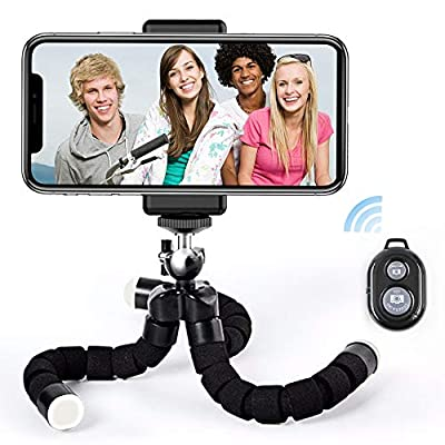 Phone Tripod Stand, Flexible Camera Tripod with Wireless Remote &Universal Clip, 360° Adjustable Mini Cell Phone Tripod for iPhone Android GoPro Selfie Camera Black by Cuuejoy