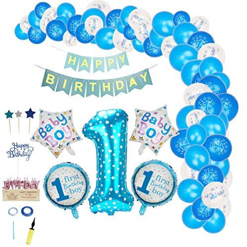 FORMIZON Globos Cumpleaños de Niño, 1er Cumpleaños Bebe Globos Decoracion, Globo de Cumpleaños 1 Año, Banner de Feliz Cumpleaños Bebe Niño, Decoración de Feliz Cumpleaños con Accesorios