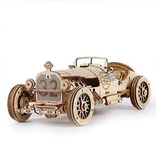ROBOTIME 3D Wooden Puzzle Collectible Model Car Kit for Adults and Kids 1:16 Scale Model Grand Prix Car