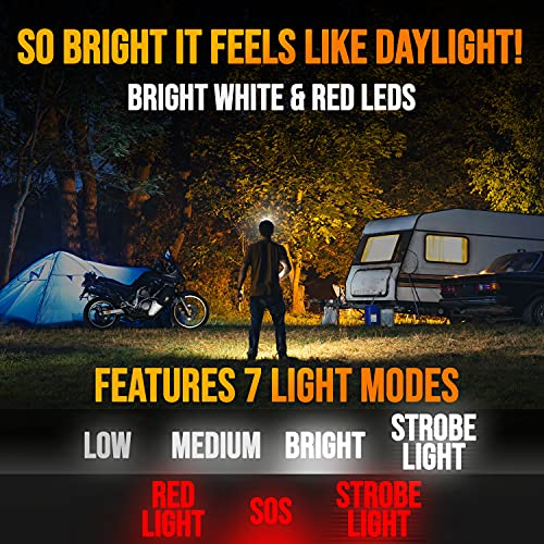Foxelli LED Headlamp Flashlight for Adults & Kids, Camping, Hiking, Running, Outdoor Head Lamp with Red Light, Lightweight Waterproof Head Light with Adjustable Headband, 3 AAA Batteries Included