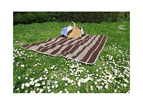 Schulz - Manta de Campo/Picknick-Decke aus andalusischer gewalkter Merinowolle/Naturfarben / 180x120cm