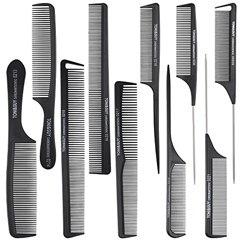 10 Pièces Set de Peigne de Coupe de Coiffure Peigne à Queue de Rat Peignes de Barbier Multifonctions Peigne Antistatique Résistant à Chaleur Peigne de Coiffeur à Dents Fines et Larges