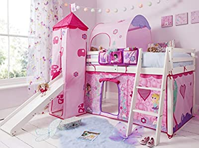 Noa and Nani - Midsleeper Cabin Bed with Slide and Fairies Tent, Tunnel and Tower - (White)