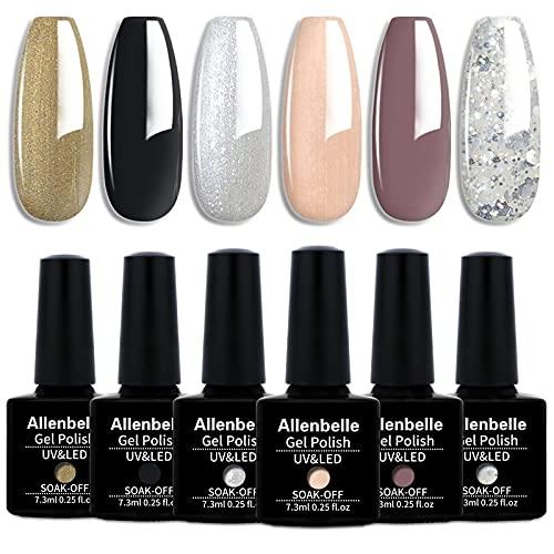 Allenbelle Smalto Semipermante Per Unghie Kit In Gel Uv Led Smalti Semipermanenti Per Unghie Nail Polish UV LED Gel Unghie(Kit di 6 pcs 7.3ML pc) (008)