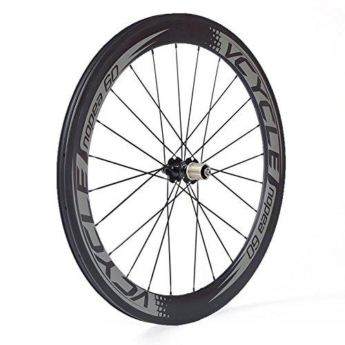 VCYCLE Nopea Fibre de Carbone Vélo de Course Route Roues 60mm Clincher Pneu Largeur 23mm Shimano ou...