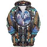 GZSM Sudaderas con capucha para hombres para los fanáticos de los indios Impresión 3D Moda Casual Pullover/Zip Jacket Tops, fácil de secar Suelto/H/M
