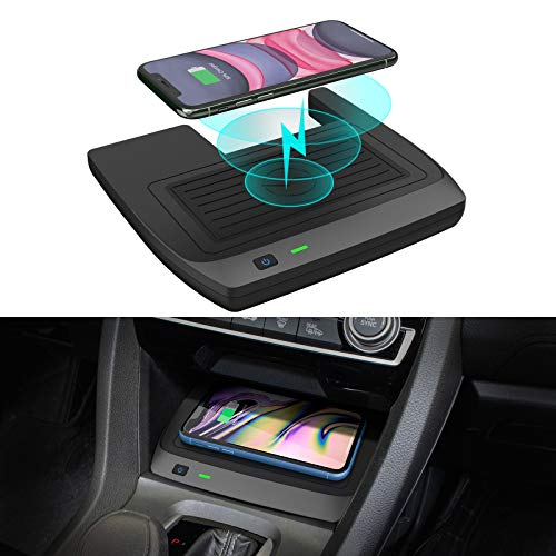 CarQiWireless Wireless Charger for Civic with Fast Charging Charger, 3 Coils QI Phone Wireless Charging Pad Mat fit for 10th Gen Honda Civic 2019 2018 2017 2016 Accessories - Fast Charging