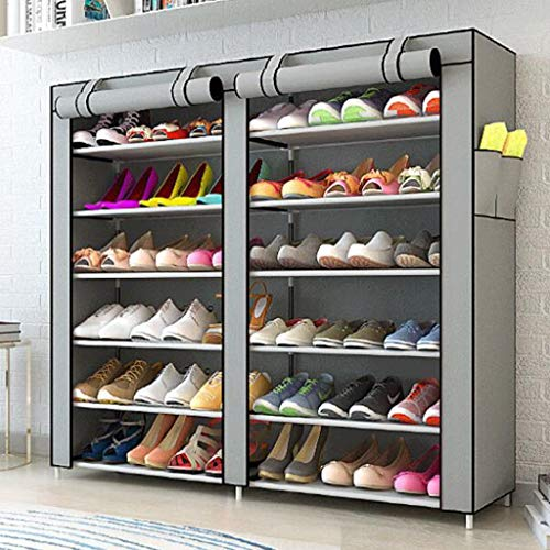 XWZH Gabinete de zapatos a prueba de polvo de doble fila de 6 niveles para hasta 36 pares de zapatos, organizador de almacenamiento de pie, 120 x 30 x 110 cm (color: G)
