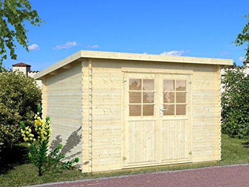 Gartenhaus Pinus P14d naturbelassen inkl. Fußboden - 28 mm Blockbohlenhaus, Grundfläche: 9 m², Pultdach