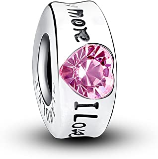 Glamulet Art - I Love You More Crystal Charm - 925 Sterling Silver