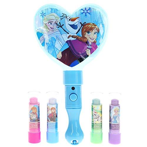 TownleyGirl Frozen Disney Princess , 4 Pack Lip Balm with Light Up Mirror, 5 CT (Frozen)