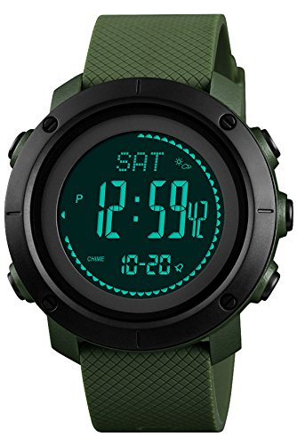 Findtime Herren Uhr Digital Quarz Silikon Kompass Schrittzähler Barometer Höhenmesser LED Countdown Thermometer Outdoor Sport Militär Grün