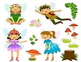 Kit de numeración de pintura de diamante 5D DIY lindo dibujos animados hadas con setas y 35,5 x 50,8 cm, adecuado para niños adultos bordado de diamantes completos manualidades