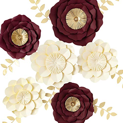 3D Paper Flower Decorations, Giant Paper Flowers, Large Handcrafted Paper Flowers ( Ivory, Burgundy Set of 6) for Wedding Backdrop, Bridal Shower, Wedding Centerpieces, Nursery Wall Decor