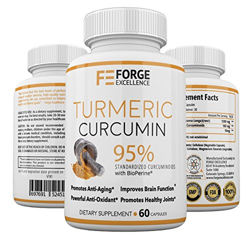 Turmeric Curcumin with BioPerine Joint Pain Relief - Potent Anti-Inflammatory Supplement - 100% Best All Natural Non-GMO Antioxidant Supplement with Black Pepper for Better Absorption Made in USA