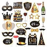 Amosfun 24 Piezas 50 cumpleaños Bricolaje años Divertidos decoración del Favor máscaras Sombrero Gafas para niños Mujeres Hombre