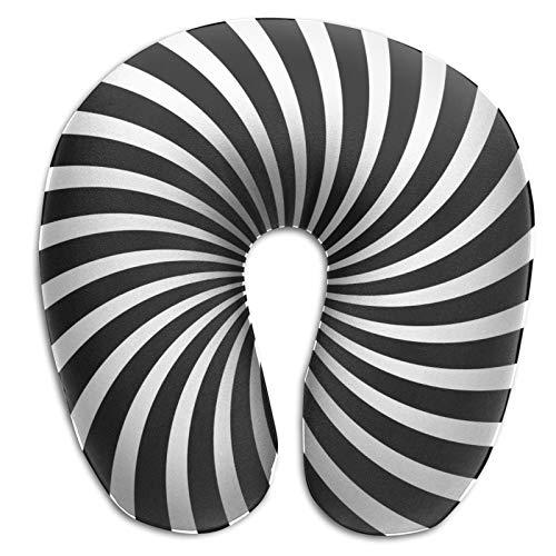 Almohada de viaje de espuma viscoelástica en forma de U, color blanco y negro polar Lollipop ligera almohada de viaje para viajes