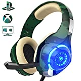 Beexcellent Gaming Headset für PS4 PC Xbox One, LED Licht Crystal Clarity Sound Professional Kopfhörer mit Mikrofon für Laptop Mac Handy Tablet (Grün)