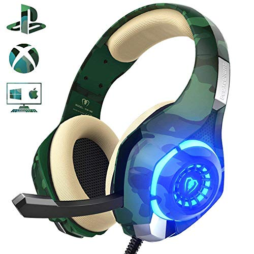 Beexcellent Gaming Headset für PS4 PC Xbox One, LED Licht Crystal Clarity Sound Professional Kopfhörer mit Mikrofon für Laptop Mac Handy Tablet Nintendo Switch