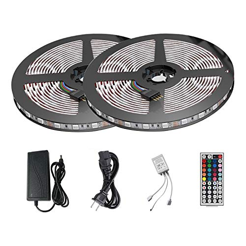 LED Light Strip Kit, Targher RGB LED Strip Lights Waterproof SMD 5050 RGB 32.8Ft/10M 300 LEDs 30leds/m with 44Key Remote Controller and Power Supply for Party Indoor/Outdoor Ornament