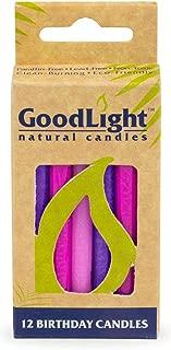 GoodLight Birthday Candles, Paraffin Free, Vegan, 12-Count (Pink & Purple)