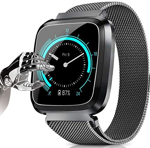 Yukefeng Bluetooth-Smartwatch, schlankes Design und Farbbildschirm, mit Kamera-Fernbedienung, Aktivitäten-Tracker, Schrittzähler, Uhr mit Herzfrequenz-Monitor, Schlaf, Nachrichtenerinnerung, Schwarz