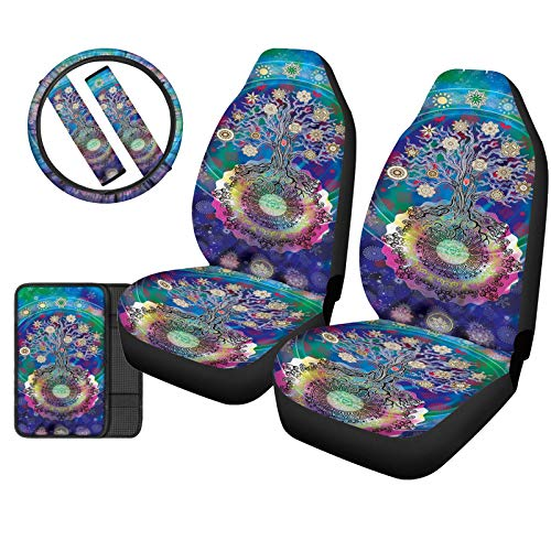 UZZUHI Boho Life Tree Front Seat Covers Auto Seats Protector with Arm Rest Cushion Pads, SUV,Truck Car Steering Wheel Protector, Adjuster Shoulder Strap Pad 6 Pcs,Hippie Tribal Ethnic Print