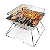Barbecue Grill, Folding Charcoal BBQ Grill Portable Camping Grill, Stainless Steel Barbecue Tool Kits for Outdoor Picnic Patio Camping Backyard Cooking Travel