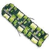 Tecnoweb - Cojín redondeado de repuesto para tumbona con reposapiés, muy acolchado, fondo de color verde con diseño de fantasía zen