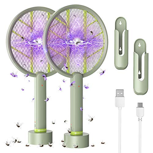 Electric Bug Zapper Racket - YUNLIGHTS 2 Pack 1600mAh USB Rechargeable Fly Swatter, 4000V Mosquito Killer for Indoor Outdoor - 3 in 1 Insect Trap for Wall-Mounted & Table Placing & Hand Holding