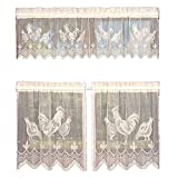 3 Pieces Set Beige Lace Tulle Curtain Rooster Printed Cafe Curtain Rod Pocket Halloween Easter Window Curtain Panel Valance Tier