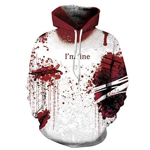 VECDY Damen Pullover,Räumungsverkauf- Herbst Neue Halloween Frauen Männer Blut 3D Druck Langarm Hoodie Sweatshirt Pullover Top Exquisite Pullover Bizarre Pullover mit Kapuze T-Shirt(Rot,44)
