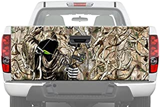 MotorINK Bow Reaper Buck Skull Horns Forest Tree Obliteration Camouflage Camo Oak Hunting Tailgate Graphic Decal Sticker for Pickup Truck Ford Chevy Dodge (26
