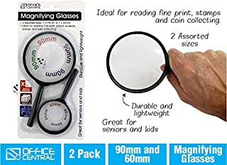 2pk Magnifying Glasses Loupe Magnifier Reading Jewelry 60 90 mm Coin Numismatics